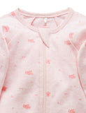 PUREBABY | Zip Growsuit - Pale Pink Leaf