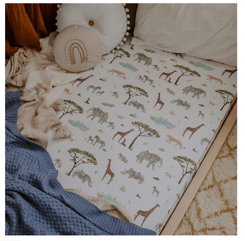 SNUGGLE HUNNY | Safari Fitted Cot Sheet (3895210770492)