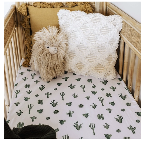 SNUGGLE HUNNY | Cactus Fitted Cot Sheet