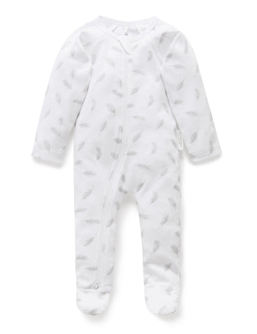 PUREBABY | Zip Growsuit - Pale Grey Leaf