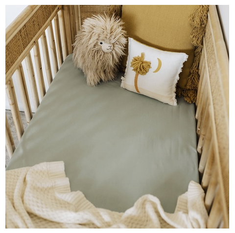 SNUGGLE HUNNY | Sage Fitted Cot Sheet