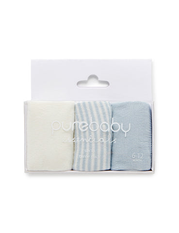 PUREBABY | Sock 3pkt - Pale Blue