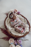 SNUGGLE HUNNY | Pansy Heart I Snuggle Swaddle and Top Knot Set (3895192125500)