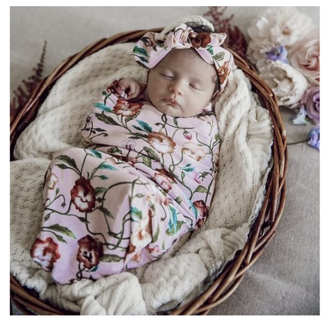 SNUGGLE HUNNY | Pansy Heart I Snuggle Swaddle and Top Knot Set