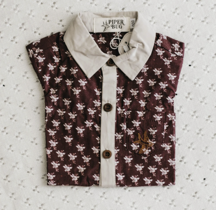 PIPER BUG | Tinsel Shirt Red Floral - Boys