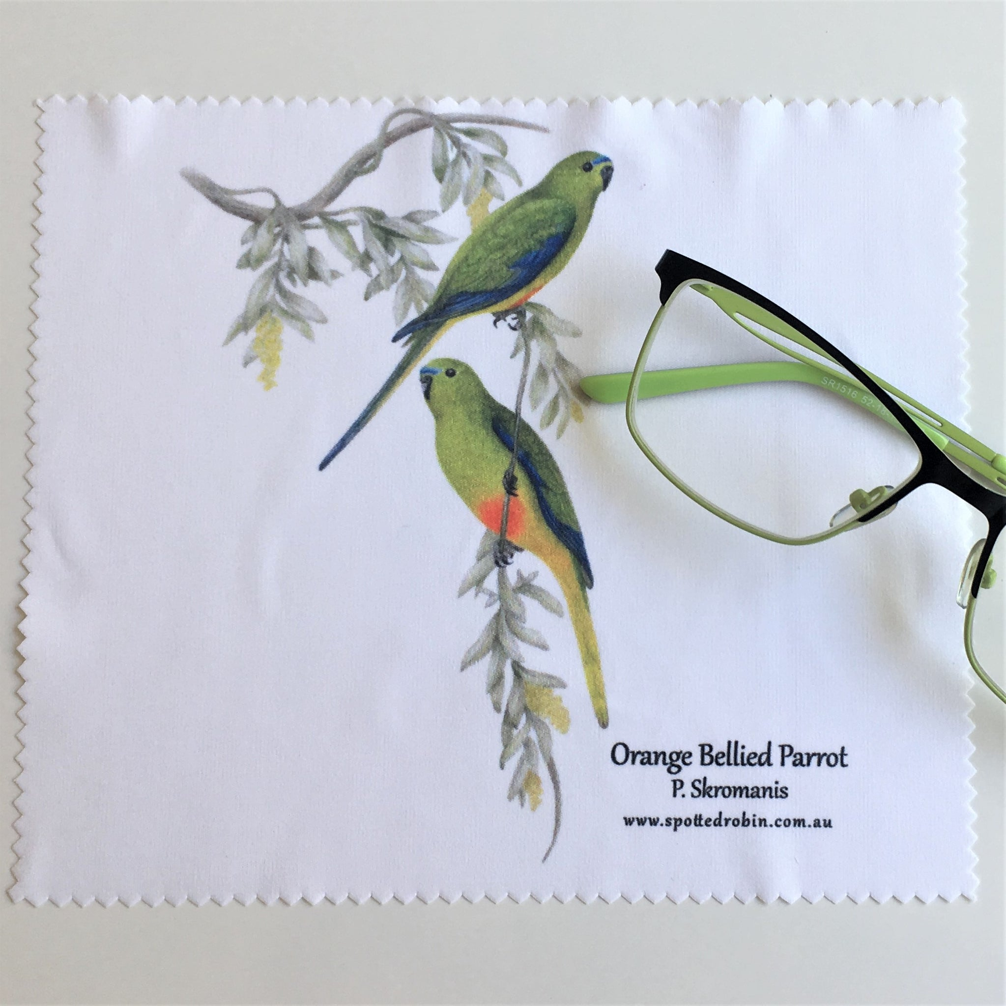 Microfibre Eyeglass Cleaning Cloth - Orange Bellied Parrots