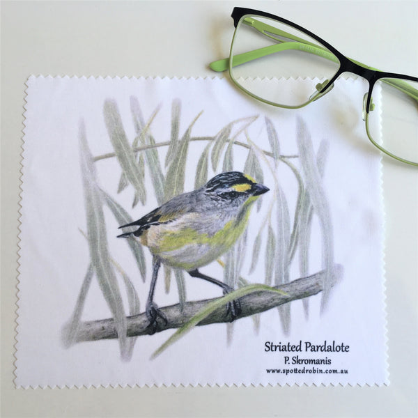 Microfibre Eyeglass Cleaning Cloth - Striated Pardalote