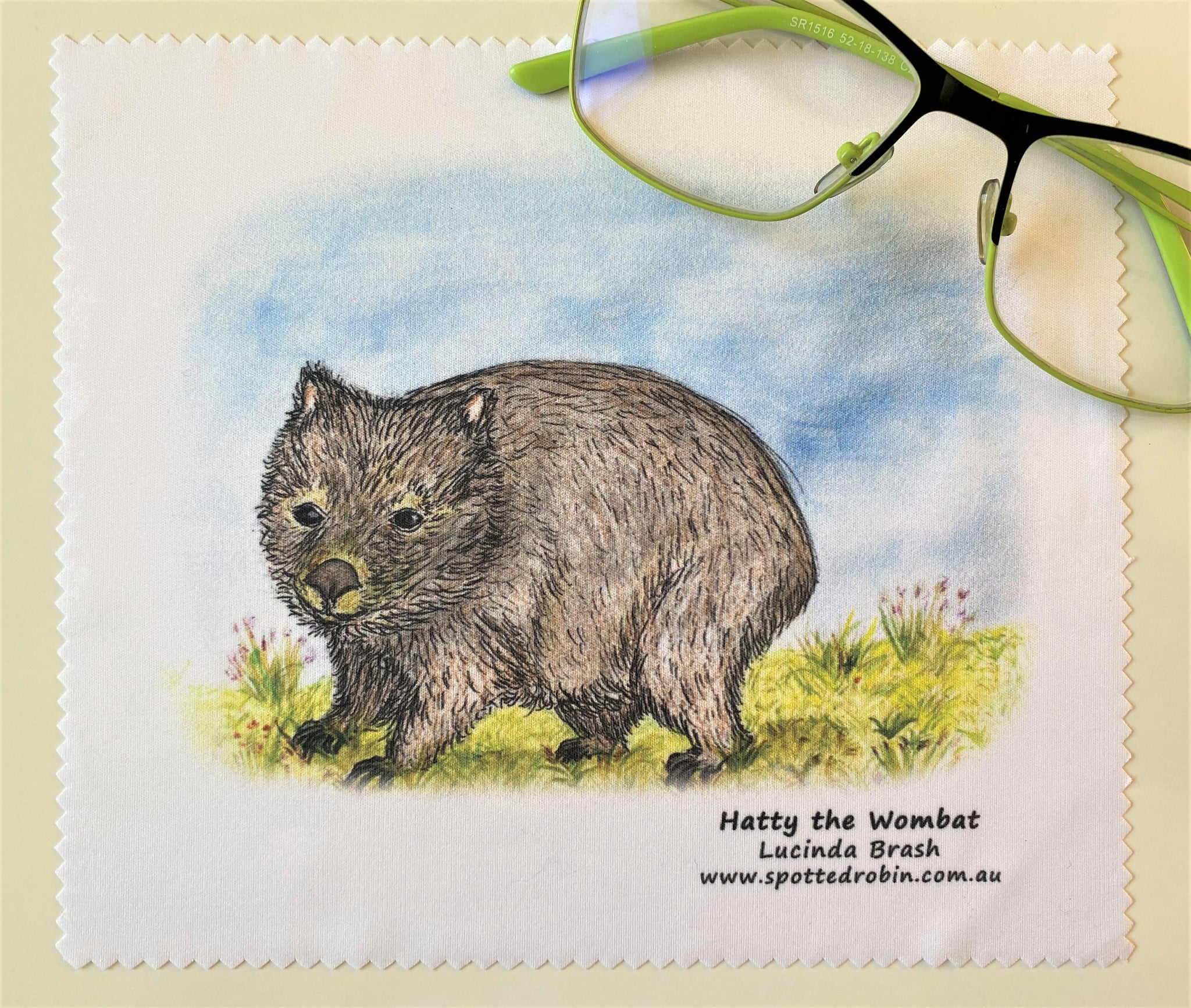 Microfibre Eyeglass Cleaning Cloth - Hatty the Wombat
