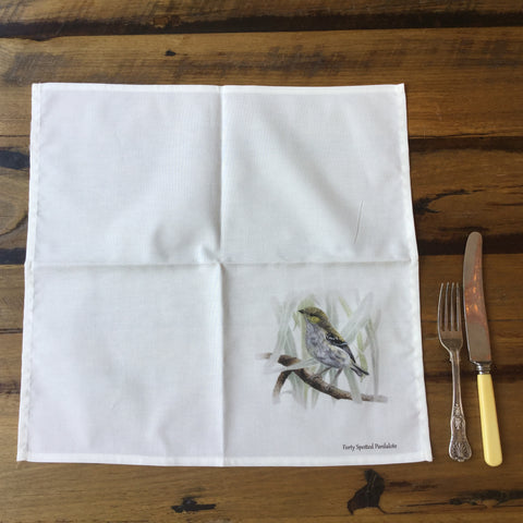 Cloth napkins and serviettes with the Forty Spotted Pardalote