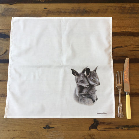 Cotton Dining Napkins - Swamp Wallabies