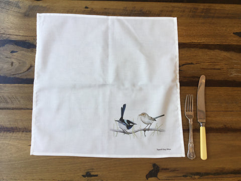 Cotton Dining Napkins - Superb Fairy Wren Pair