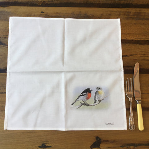Cotton Dining Napkins - Scarlet Robin Duo
