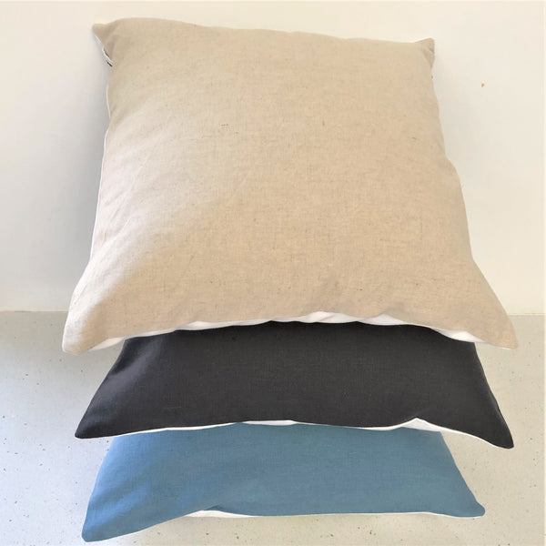 Backing fabric colours (all hemp and organic cotton blend) - in neutral, duck-egg blue and charcoal