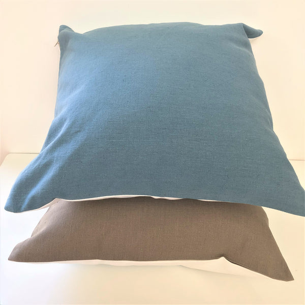 Cuhshion backing fabrics (organic cotton and hemp blend) in Blue and Cobblestone