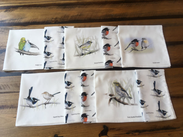 A collection of Australian wildlife printed on cloth napkins or serviettes