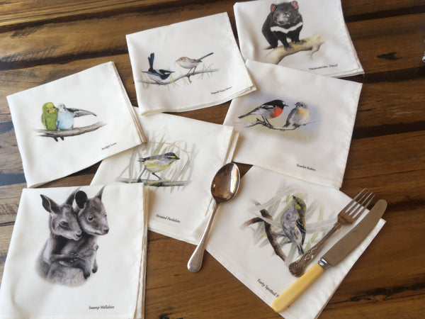 Cloth napkins and serviettes with images of Australian wildlife. Swamp Wallabies, Budgies, Superb Fairy Wrens, Tasmanian Devil, Scarlet Robin, Striated Pardalote & Forty Spotted Pardalote