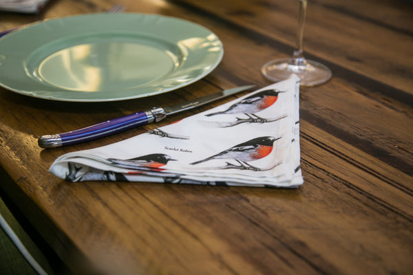 Scarlet Robin Napkins Serviettes Repeating Pattern Dining Setting