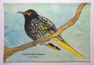 Tea Towel - Reginald the Regent Honeyeater