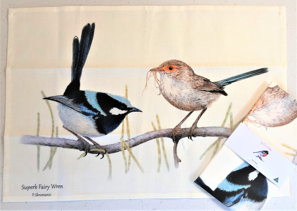 Tea Towel - Superb Fairy Wren Pair
