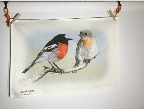 Tea Towel - Scarlet Robin Duo