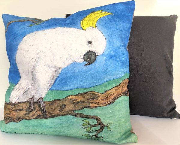 Cushion Cover - Waru the Sulphur-crested Cockatoo