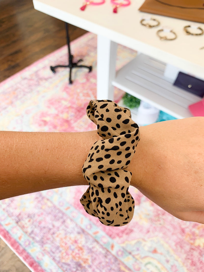 Dot Leopard Scrunchie