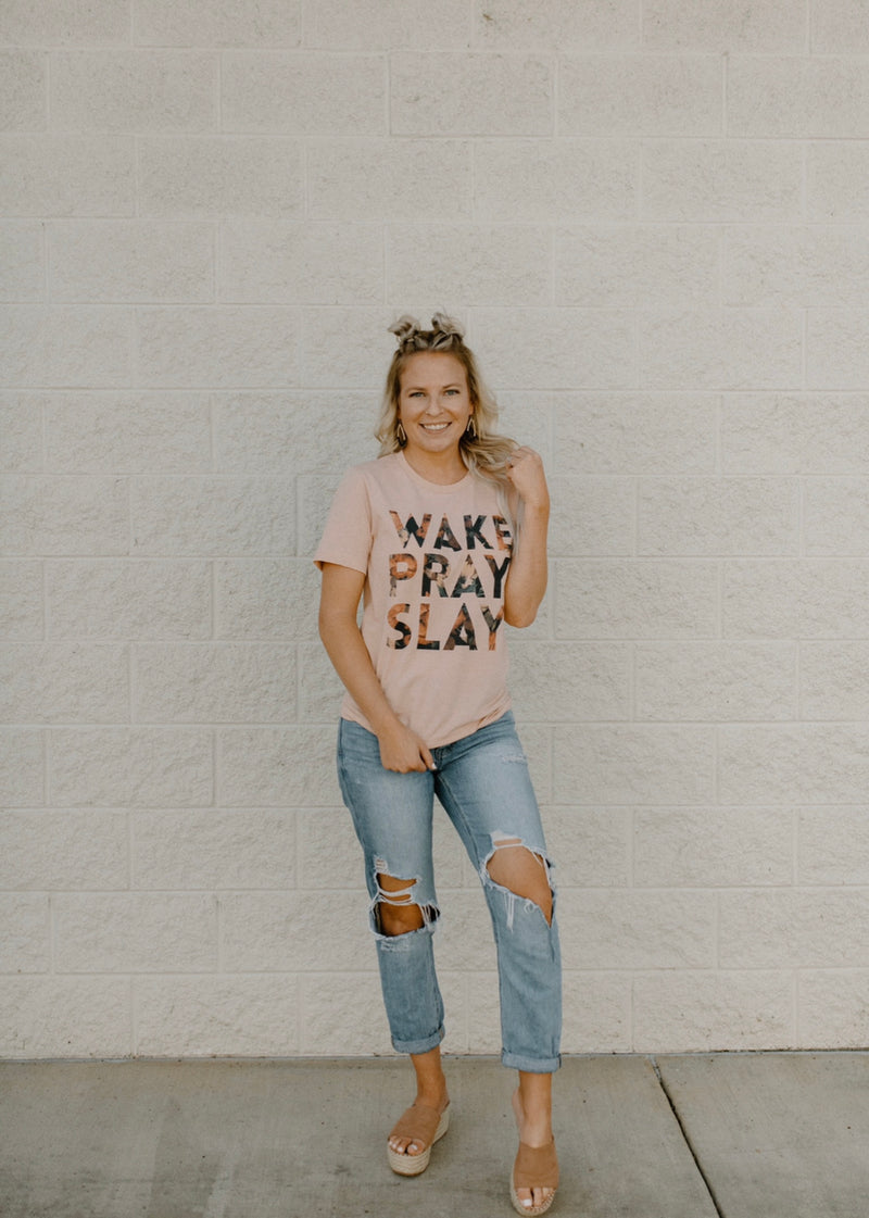 Wake Pray Slay Tee : Peach