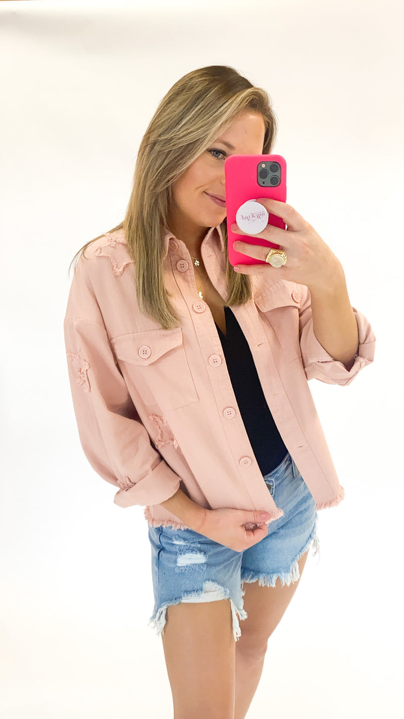 Racing Hearts Jacket : Blush