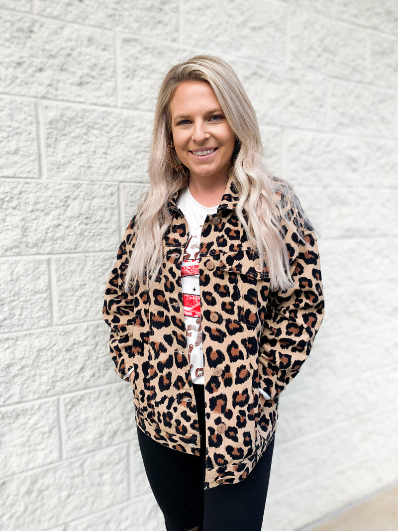 Correct It Denim Jacket : Leopard