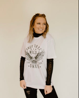 Free To Be Wild Tee : White