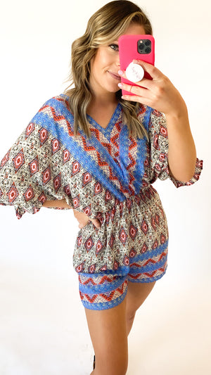 Got Your Attention Romper : Blue