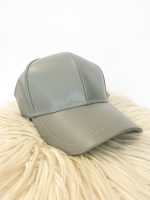 Faux Leather Hat : Grey