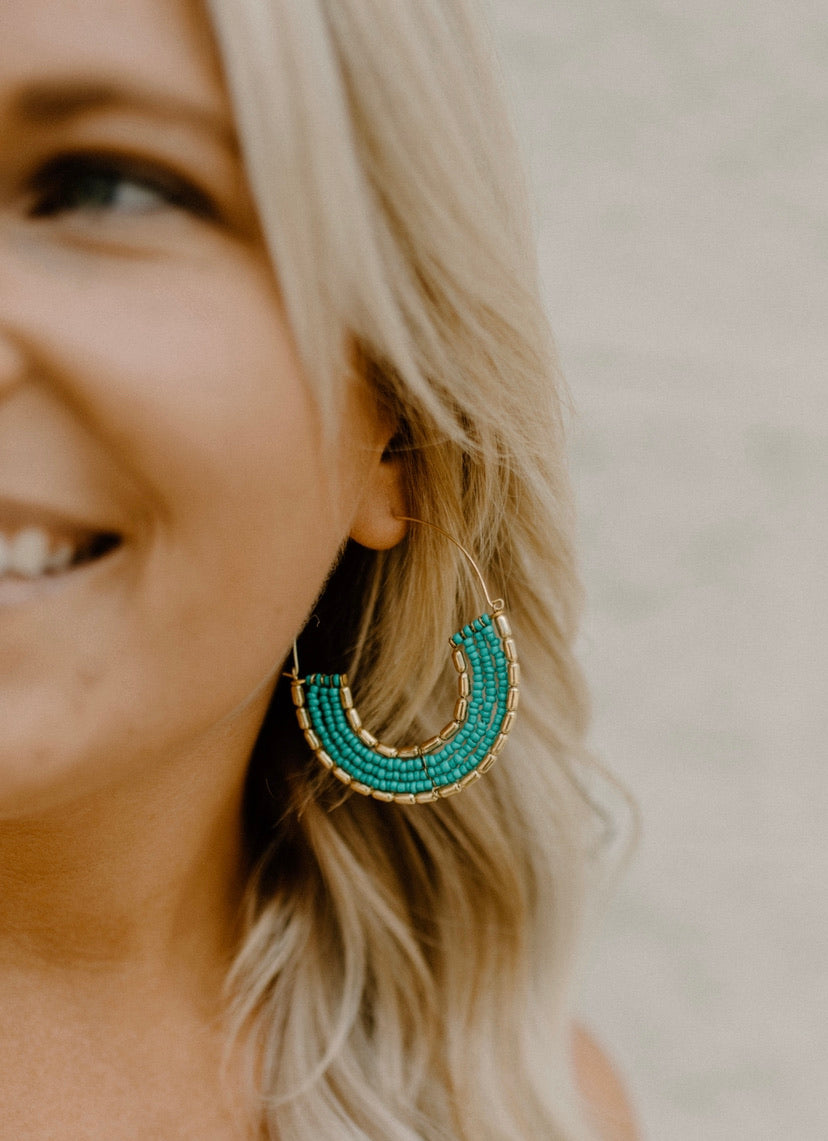 Teal Beaded Hoops