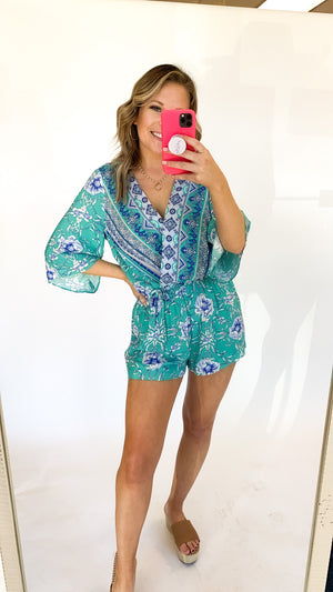 Losing Battle Romper : Emerald Mix