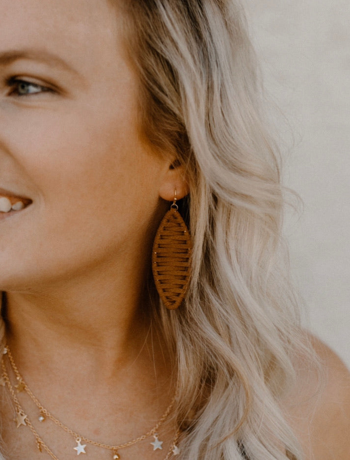 Tan Weaved Earrings