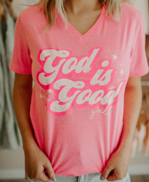 God Is Good Tee : Neon Pink