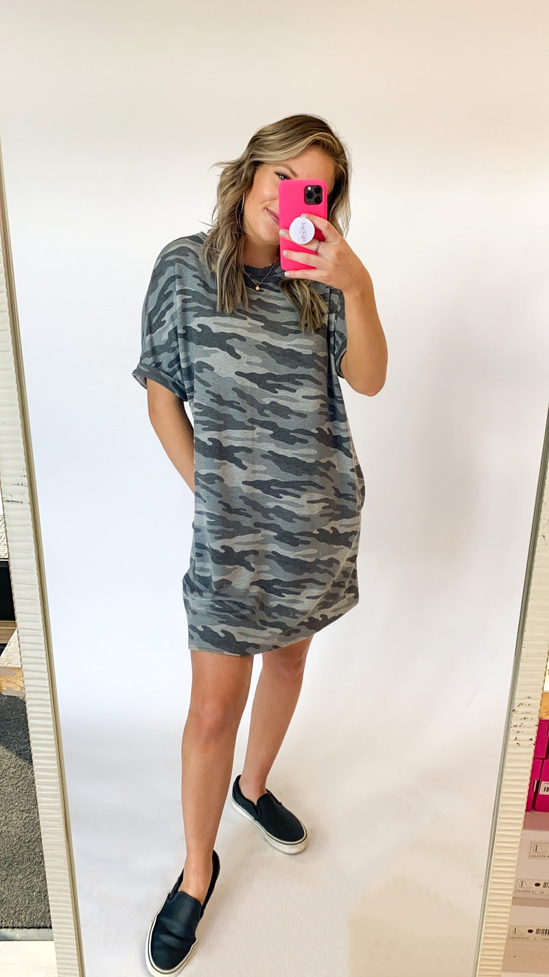 Chasing You T-Shirt Dress : Camo