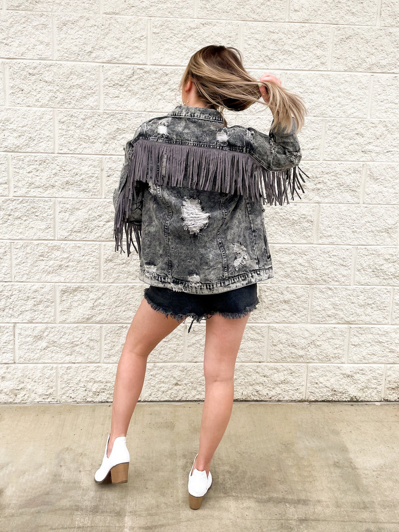 Oh My Fringe Jacket : Charcoal