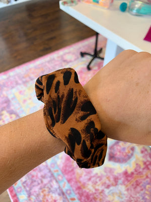 Burnt Orange Leopard Scrunchie