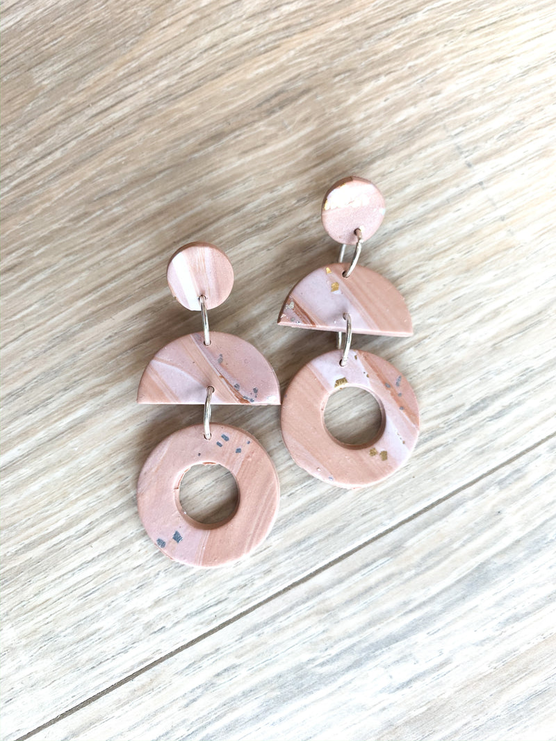 Stone Swirl Clay Earrings