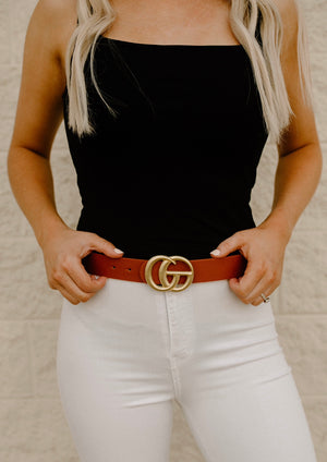 Matte GG Belt : Tan