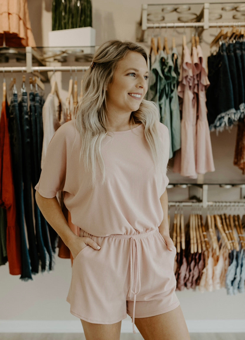 Spent A Long Time Romper : Blush