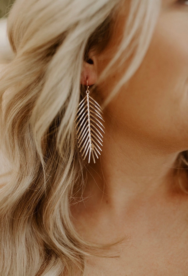 Feather Earrings : Gold