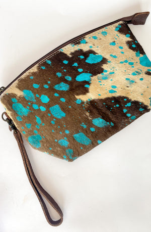 Hair On Hide Make Up Bag : Turquoise