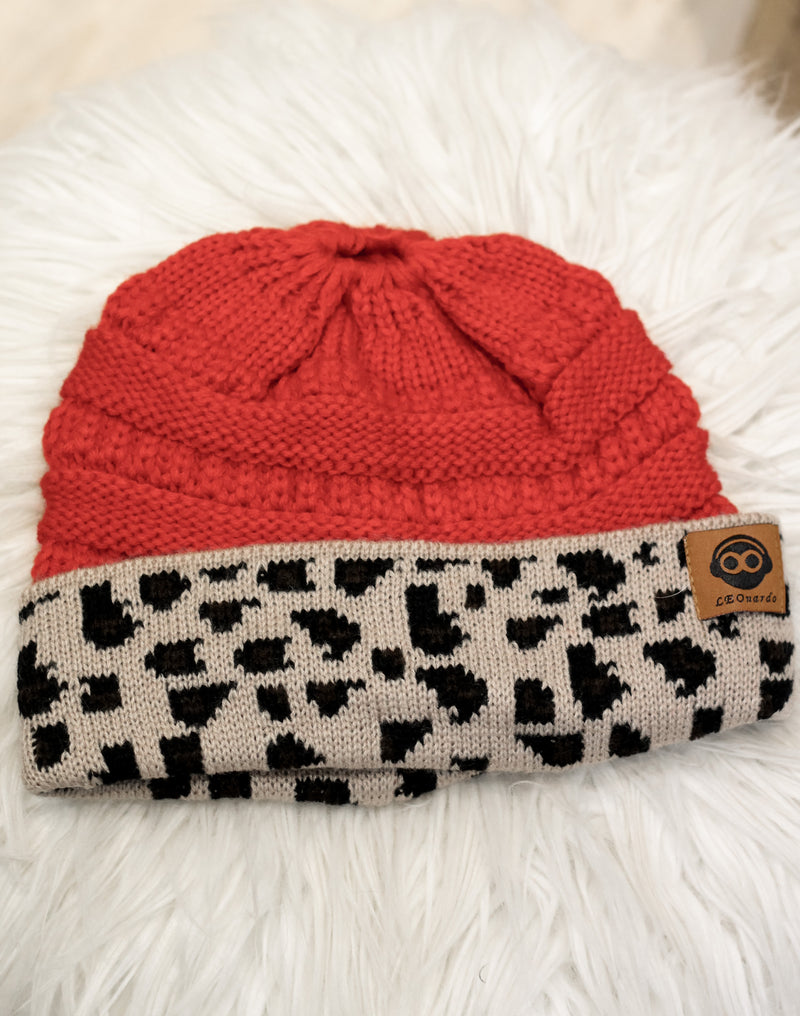In My Head Messy Bun Beanie : Red