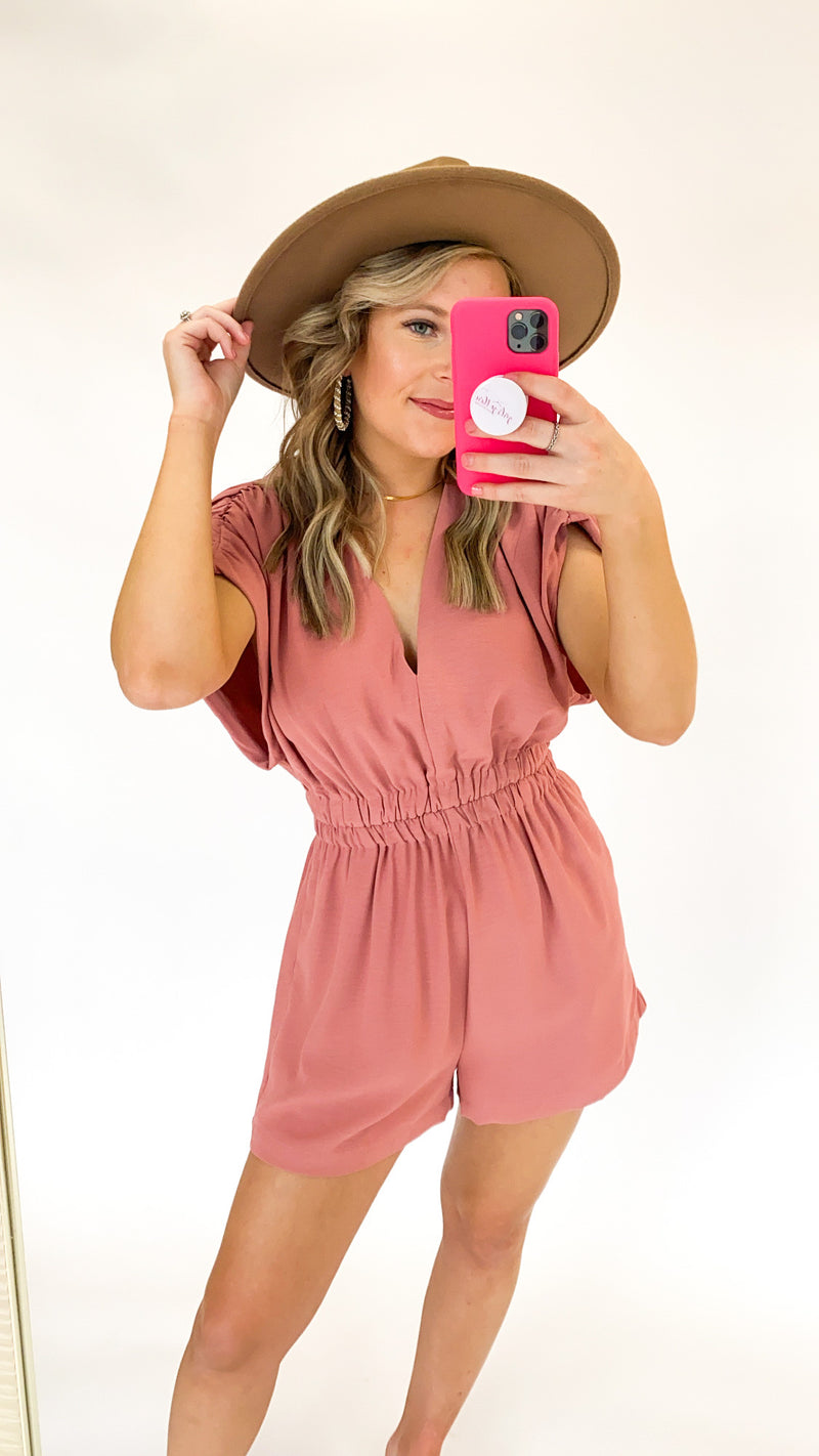 Lunch Date Romper : Salmon