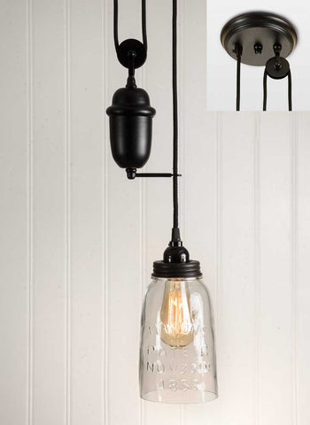 Clear Glass Half Gallon Mason Jar Pulldown Pendant Lamp