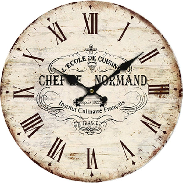 Vintage Style L'Ecole de Cuisine Wooden Round Decorative Wall Clock