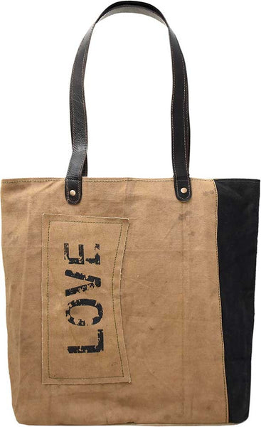 Love Patch Two Tone Tote