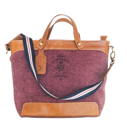 BURGUNDY LE MANS LEATHER HANDBAG